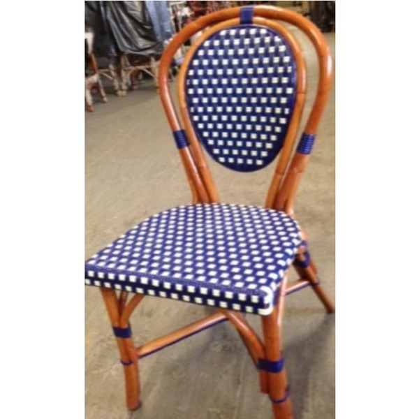 Blue/Ivory Square Rattan Chair