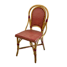 Parisian Rattan Chair Burgundy/Cream -Side