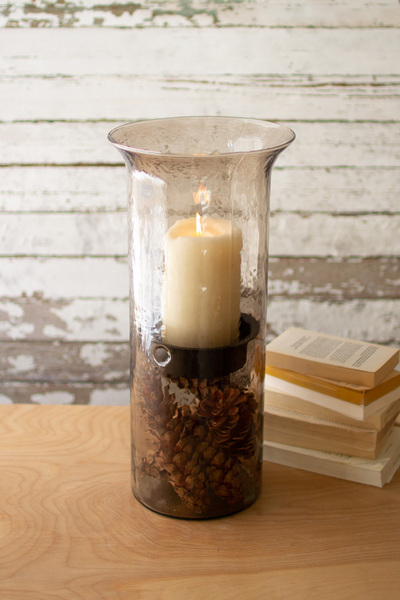 Original Smoked Glass Candle Cylinder With Rustic Inserts  -  Large
