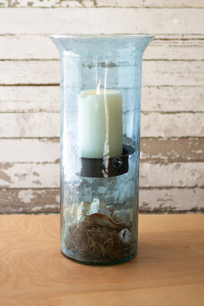 Original Sky Blue Glass Candle Cylinders With Rustic Inserts  -  Large