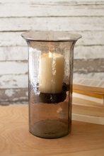 More about the 'Original Smoked Glass Candle Cylinder With Rustic Inserts  -  Medium' product