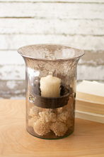 More about the 'Original Smoked Glass Candle Cylinder With Rustic Inserts  -  Small' product
