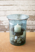 More about the 'Original Sky Blue Glass Candle Cylinders With Rustic Inserts  -  Small' product