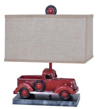 Rustic red truck lamp