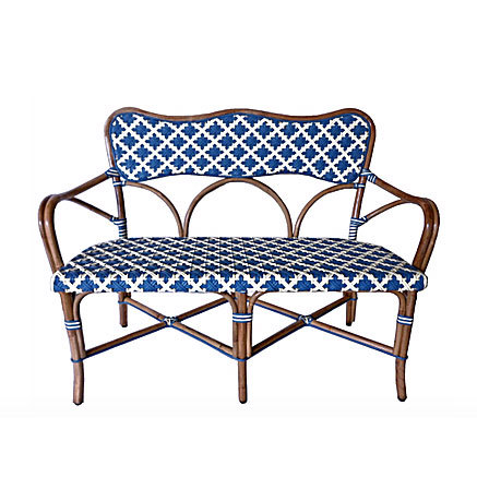 Capucine Rattan Bench - SkyBlue