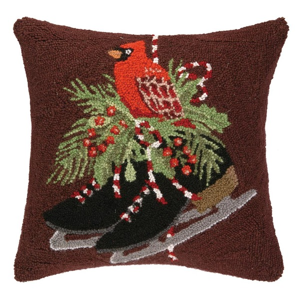 Cardinal and Skates Hooked Pillow by Peking