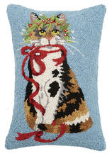 Cat Holly Leaf Hooked Pillow