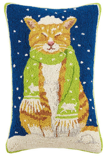 Cat with Scarf Hooked Pillow