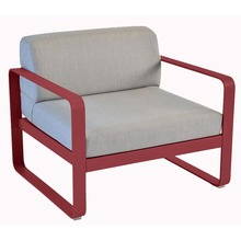 Bellevie Chair with Flannel Grey Cushions & Chili Frame