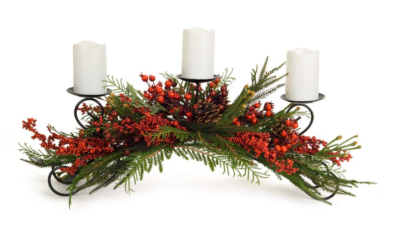 Winter Berry Candle Holder  Red/Green