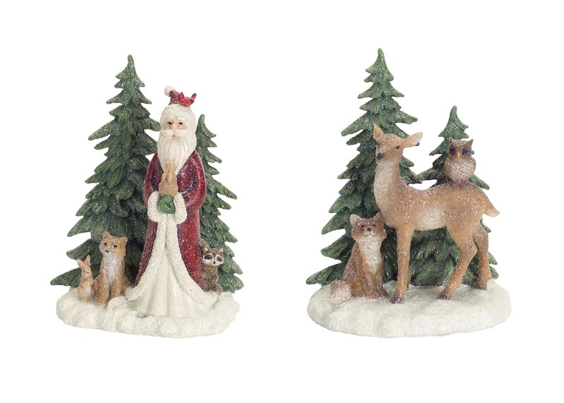 Deer/Santa w/Tree Table Piece (Set of 2)  Green/White