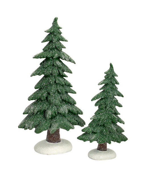Frosted Trees (Set of 2)  Green/White