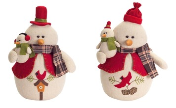 More about the 'Snowman w/Cardinals (Set of 2) Red/Cream' product