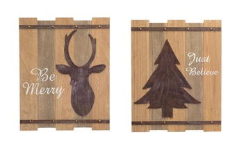 More about the 'Deer Head/Tree Wall Plaque (Set of 2)  Natural/Rust' product