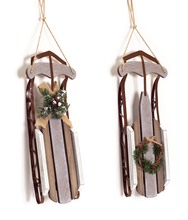 More about the 'Hanging Sleigh w/Wreath Accent (Set of 2)  Brown/Beige' product