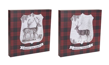 More about the 'Deer Wall Plaque (Set of 2) Burgundy/Black/White' product