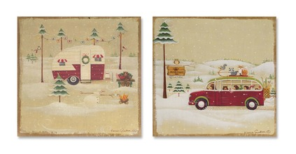 More about the 'Camping Wall Plaque (Set of 2)  Red/Brown/Green' product