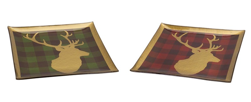 Deer Head Plaid Plate (Set of 2)  Gold/Red/Green