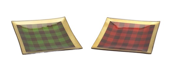 More about the 'Plaid Plate (Set of 2) Red/Green/Gold' product