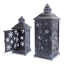 Lantern w/Removeable Snowflake Inserts and Glass (Set of 2)