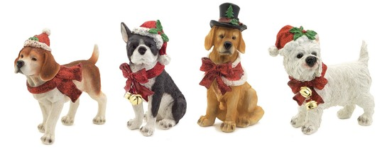More about the 'Dog Christmas Figurines (Set of 4) White/Brown/Red' product