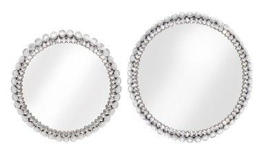 More about the 'Jeweled Tray with Reflective Surface (Set of 2)  Silver' product