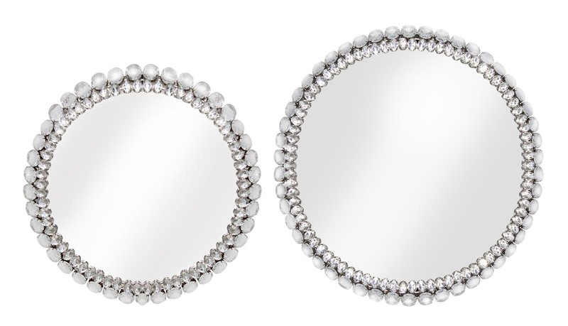 Jeweled Tray with Reflective Surface (Set of 2)  Silver