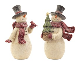 More about the 'Snowman w/Bird,Tree (Set of 2) Cream/Red/Black' product