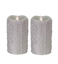 More about the 'Simplux LED Glittered Dripping Candle w/Moving Flame (Set of 2)  Silver' product