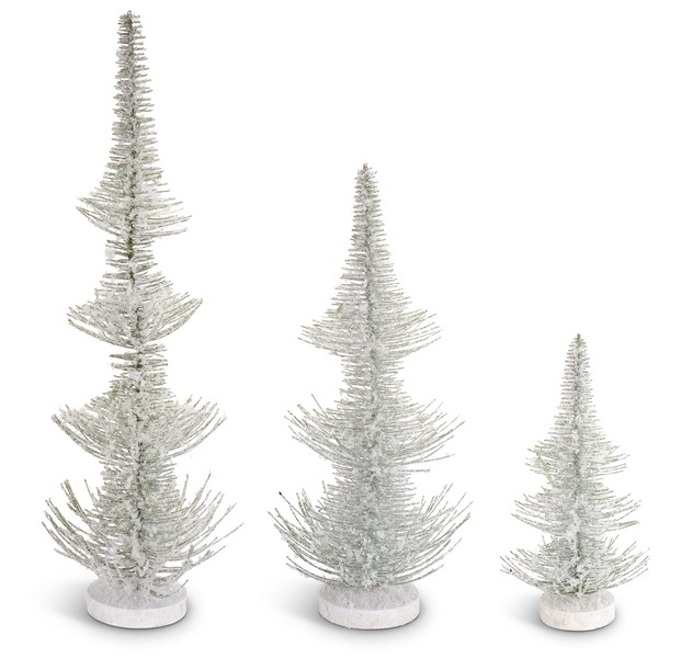 Frosted Pine Trees (Set of 3)  White/Green