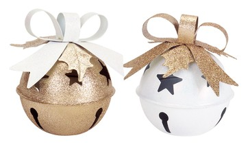 More about the 'Jingle Bell Tea Light Holder (Set of 2) Gold/White' product