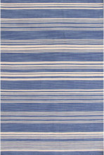 Cottage Stripe French Blue Woven Wool Rug