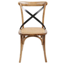 X Back chair woven cane padded seat front