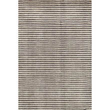 Cut Stripe Grey Hand Knotted Wool Rug