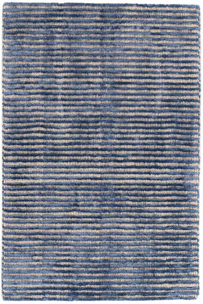 Cut Stripe Indigo Hand Knotted Viscose/Wool Rug
