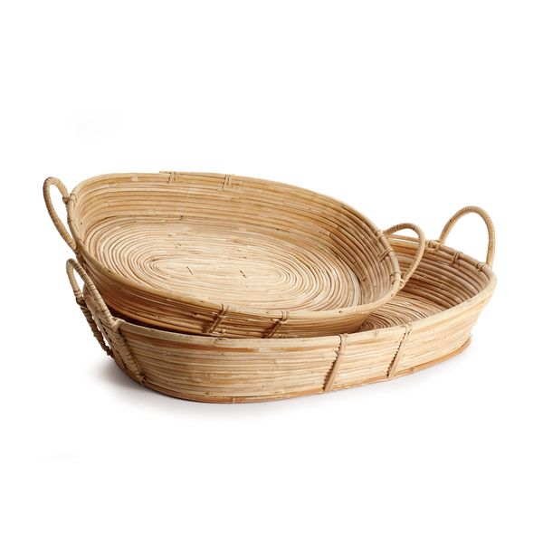 Cane Rattan Trays With Handles, Set Of 2