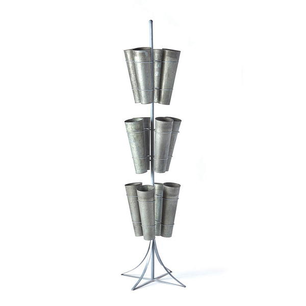 Galvanized 12-Bucket 3-Tier Floral Display Stand