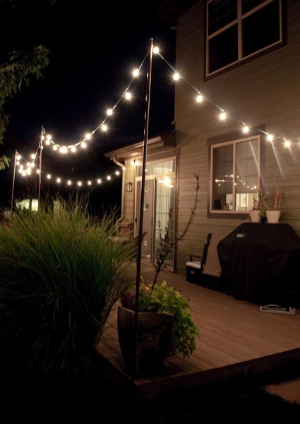 Outdoor Round patio string lights - outside