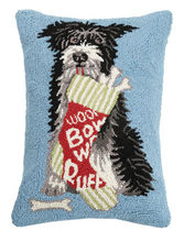 Dog with Bone Stocking Hooked Pillow
