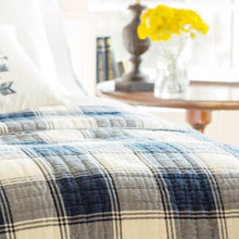 Elliot Blue & White Buffalo check throw