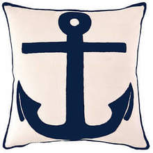 Indoor/outdoor Admiral ivory/navy pillow