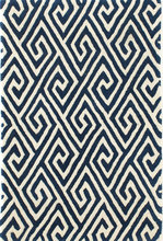 Fretwork Navy Tufted Wool Rug