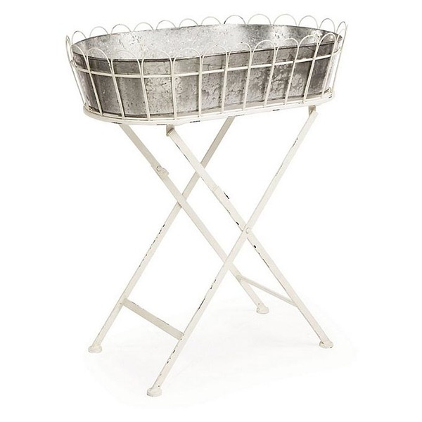 Garden Stand with Galvanized Bucket