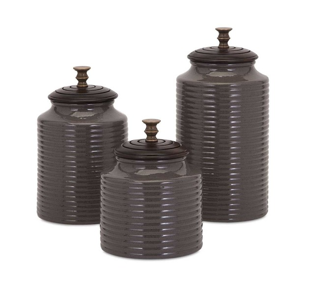 Grey Canisters with Lids