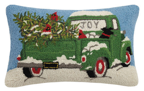 Green Truck Hooked Pillow