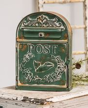 Old Tin Post Box - Green