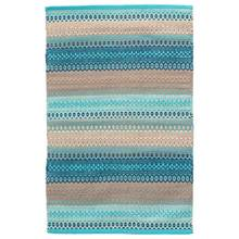 Gypsy Stripe Turquoise/Grey Woven Cotton Rug by Dash & Albert