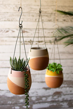 More about the 'Set Of Three Color Dipped Hanging Clay Pots' product