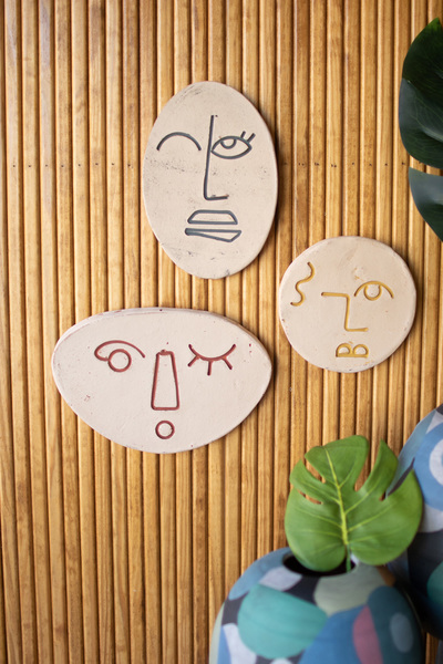 Set Of Three Abstract Clay Face Wall Hangings