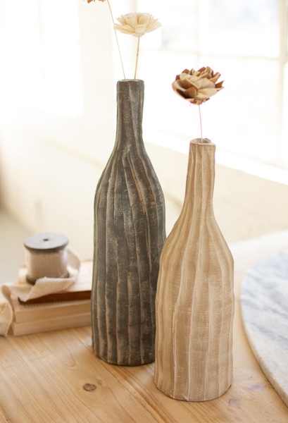 Set Of Two Tall Ribbed Clay Bottles